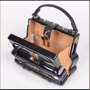 Bags - Taxi Cab Boxy Faux Leather Mirror Hard Case Bag